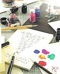 Encres Herbin, porte-plume, bloc de Calligraphie