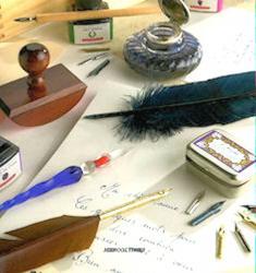 Tampon buvard, plume d'oie, plumes Cito Fein, Sténo, boîte de plumes Collector Herbin,  encrier, flacons d'encre Herbin, plume de verre