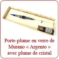 Porte-plume en verre de Murano ''Argento'' avec plume de cristal